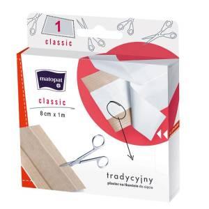 Plaster Classic tkaninowy z opatrunkiem do cięcia 8cm x 1m 1szt.